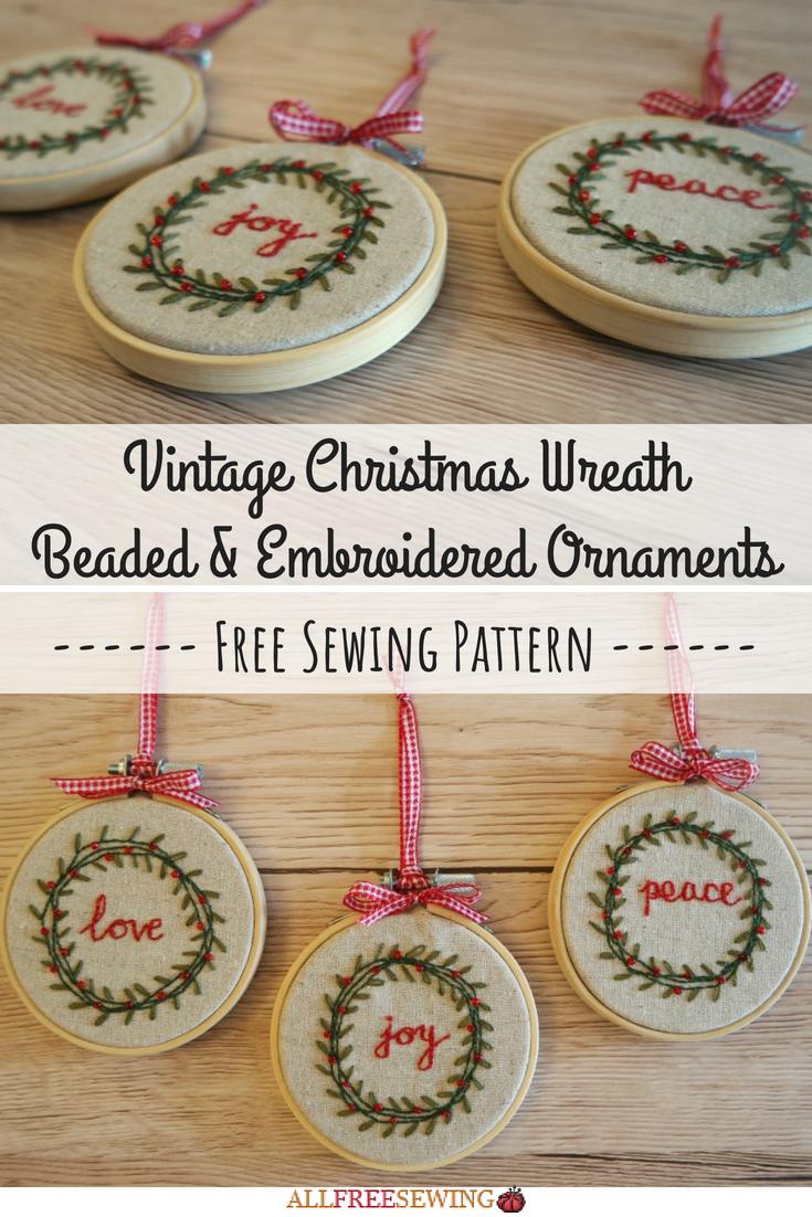 Vintage christmas wreath beaded u embroidered ornaments christmas