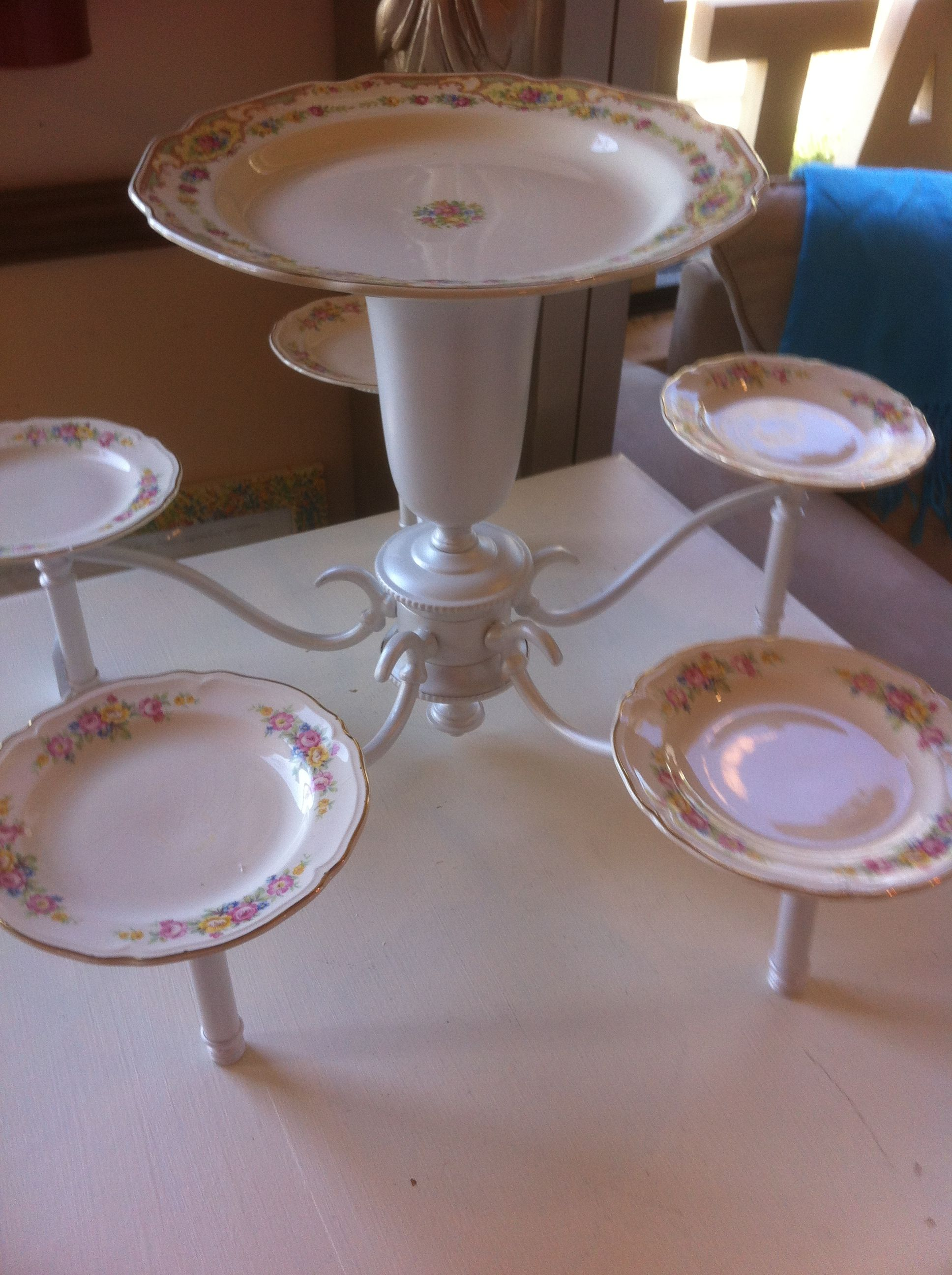 Vintage Wedding Cake and cupcake dessert stand, cakestand, serving ...