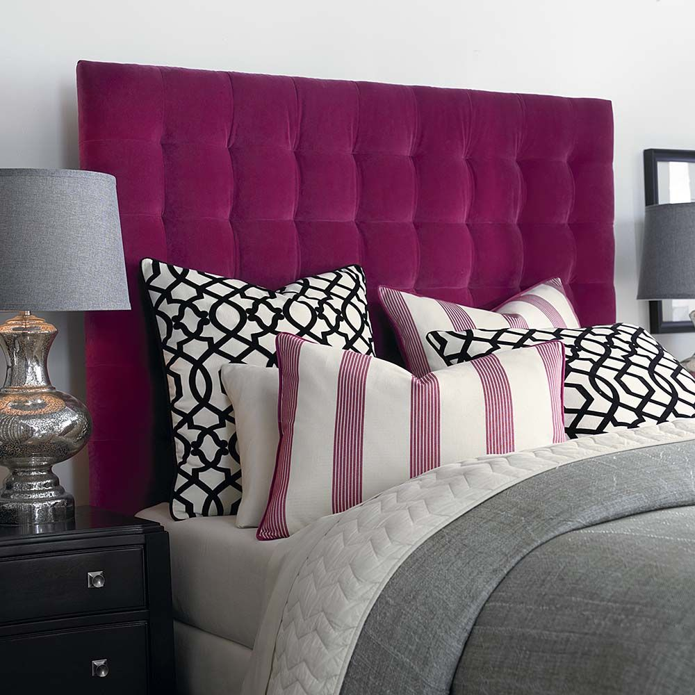 High Rectangular Bed With Tufted Headboard By Bassettfurniture Grey Bedroom With Pop Of Color Eclectic Master Bedroom Classy Bedroom