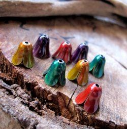 Enameled bead caps of different colors can become wonderful focal points of your beaded products! Add more colors to your jewelry creations!    Jewelry...