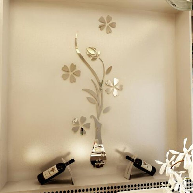 c0f657f8bbd 2017 Nova Sliver Ouro Espelho adesivos de parede sala de estar entrada home  da parede decoração espelho flor vaso plum acrílico espelho 3d adesivo(China  ...
