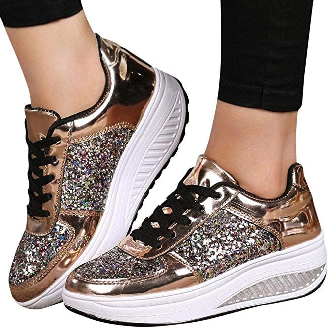 3d68dcf3899c42 Amazon.com | Clearance! Women Sneakers, Neartime 2018 Fashion Ladies Wedges  Casual Sneakers Sequins Lace-Up Shoes Girls Sport Shoes (US:7, Gold) |  Fashion ...