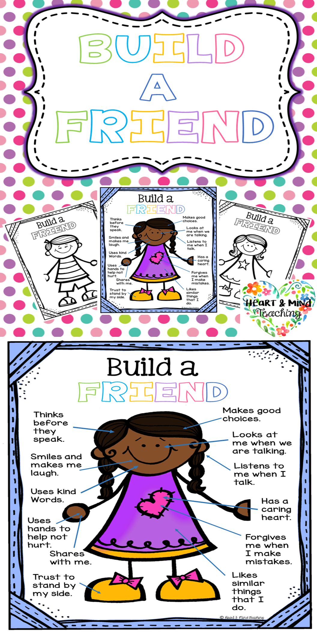 Build A Friend Activity Students Will Build A Friend That They Would Like To Have Friend Activities Character Education Lessons Making Friends Social Skills [ 2112 x 1056 Pixel ]