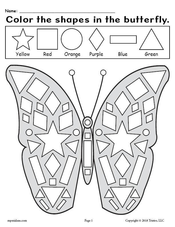 Free Printable Butterfly Shapes Coloring Pages Shapes Worksheet Kindergarten Kindergarten Coloring Pages Shape Coloring Pages Preschool color by shape worksheets