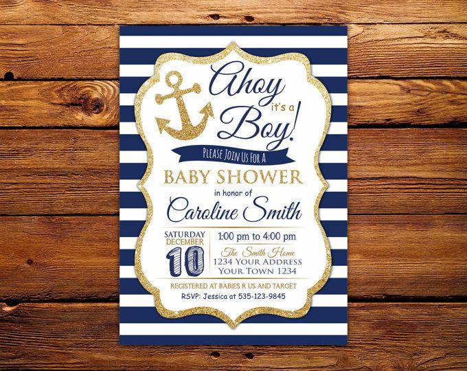 Invitación de la ducha de bebé náutica marina vista es una  aece8121d04aa