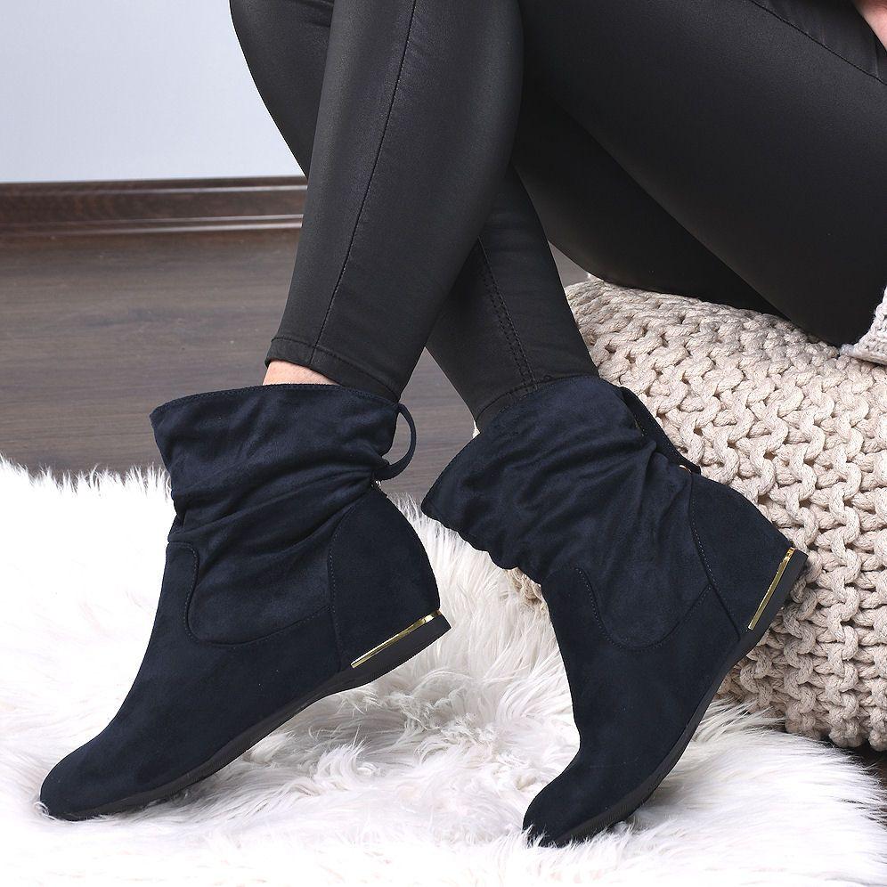 Granatowe Zamszowe Botki Wciagane Saszki 7940 Boots Shoes Winter Boot