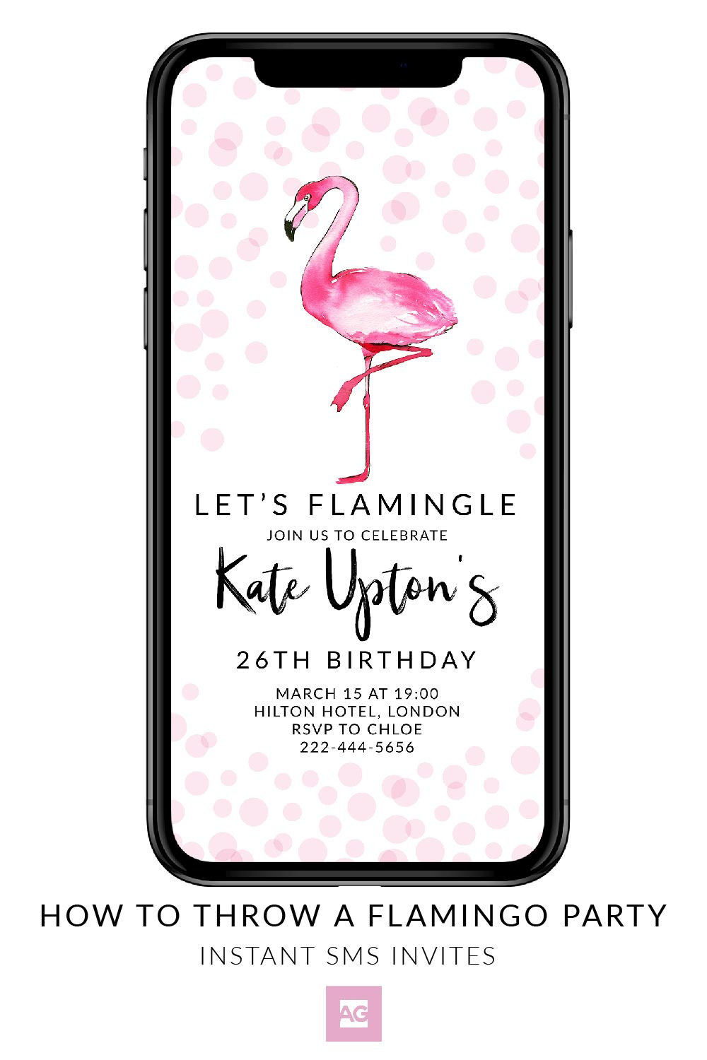 Lets Flamingle SMS Flamingo Party Invite This Birthday Invitation Is Ready To Edit And