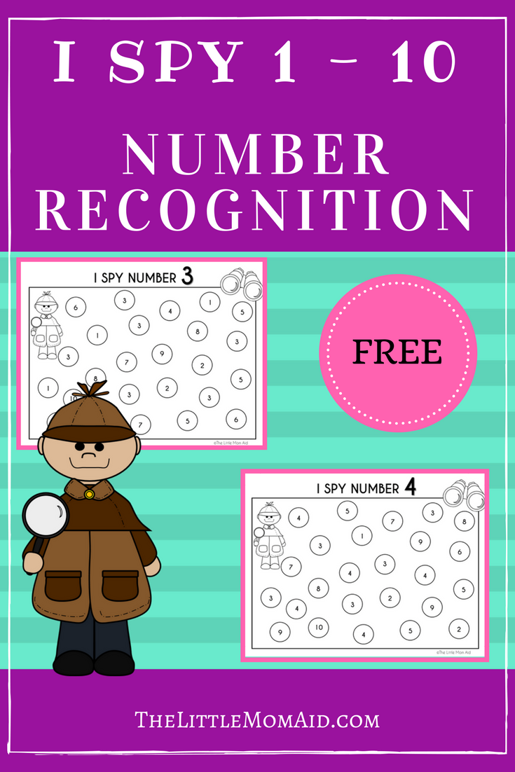 FREE I SPY: Numbers 1-10 Worksheets | Kindergarten age, Number ...