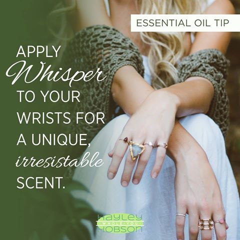 We all want to be unique, right? Well I've got a great tip for you then! Wearing essential oils as perfume not only allows you to avoid all the nasty chemicals you'd find in traditional perfumes and colognes, but it also creates a unique personal fragrance that will stand out from everyone else! DoTERRA's Whisper blend combines the floral scents of Jasmine and Ylang Ylang with the warm and spicy scents of Patchoili, Vanilla, Cinnamon, and Cocoa.  www.hayleyhobson.com