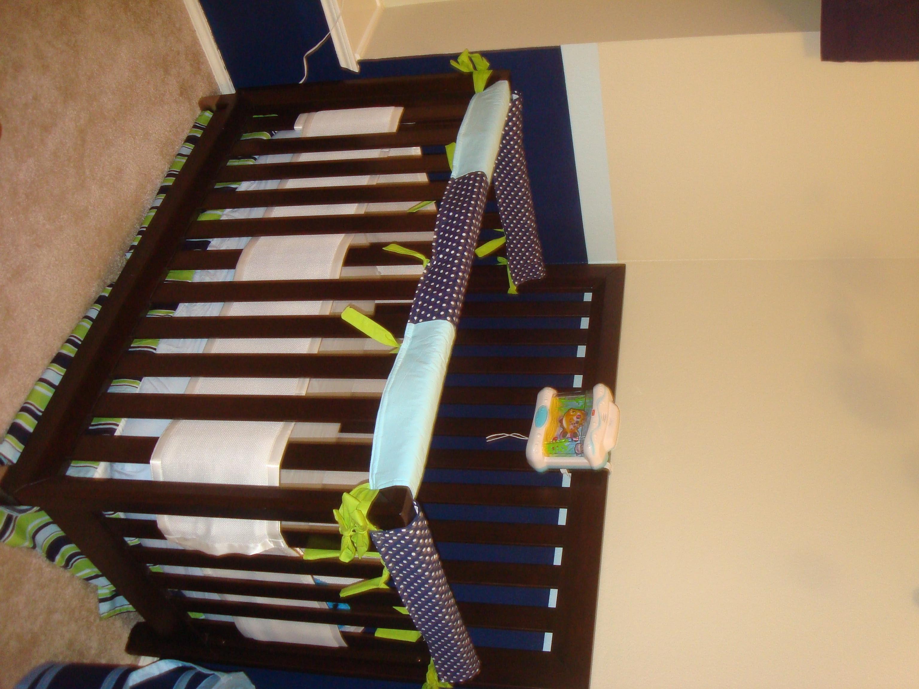 She S Crafty Diy Crib Rail Guard Tutorial Crib Teething