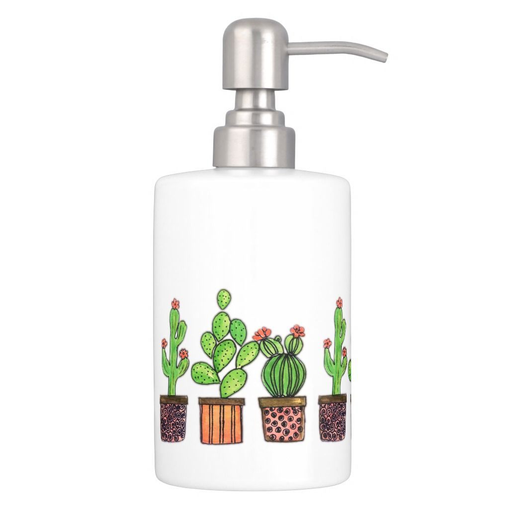 Cute Watercolor Cactus In Pots Bath Set Zazzle Com In 2020