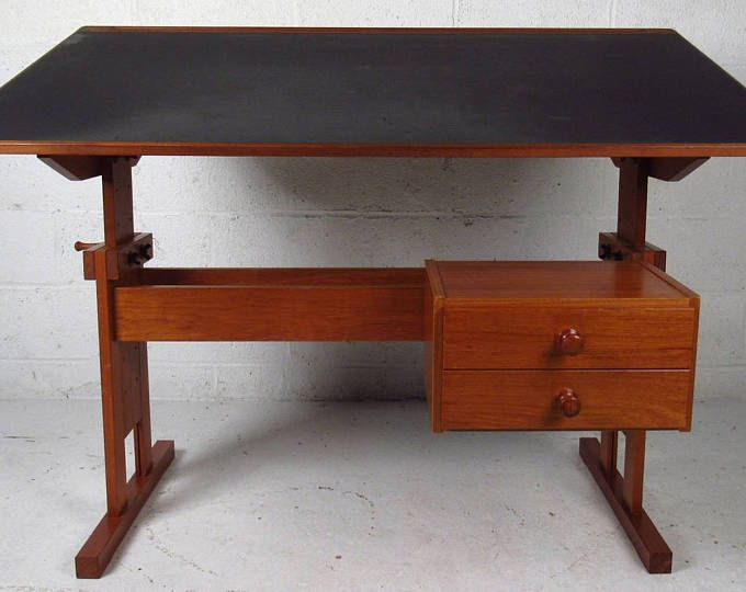 Reduced Vintage Industrial Hamilton Wood Drafting Table With