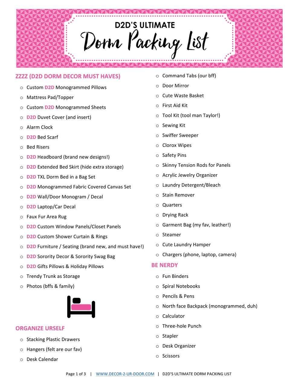 What To Bring To College FREE Dorm Packing List Printable, D2Du0027S ULTIMATE Dorm  Packing List Part 65