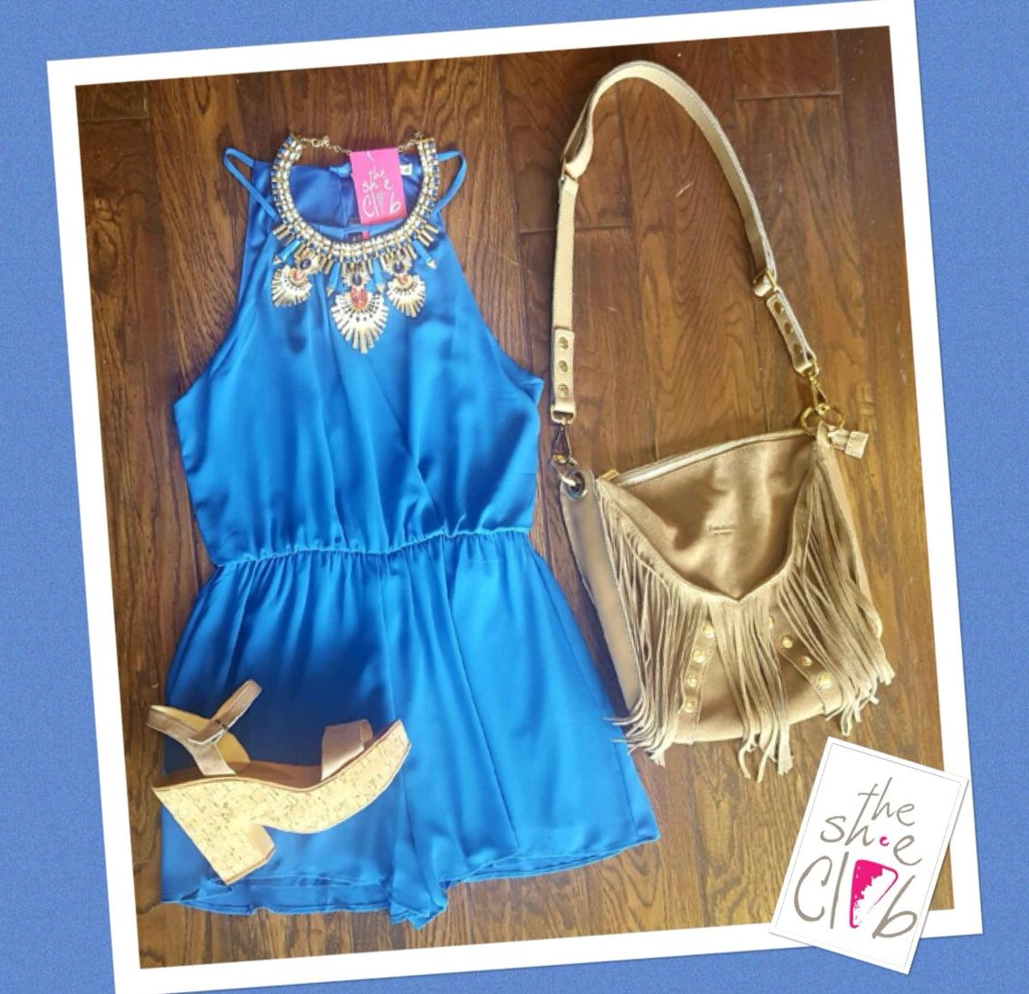 Dinner ready for your next beach vacation   Blue Romper $65 Statement Necklace $32 Dolce Vita Randi Heel $120 Hammitt Andrew Fringe $585 ☎️ 210-824-9988