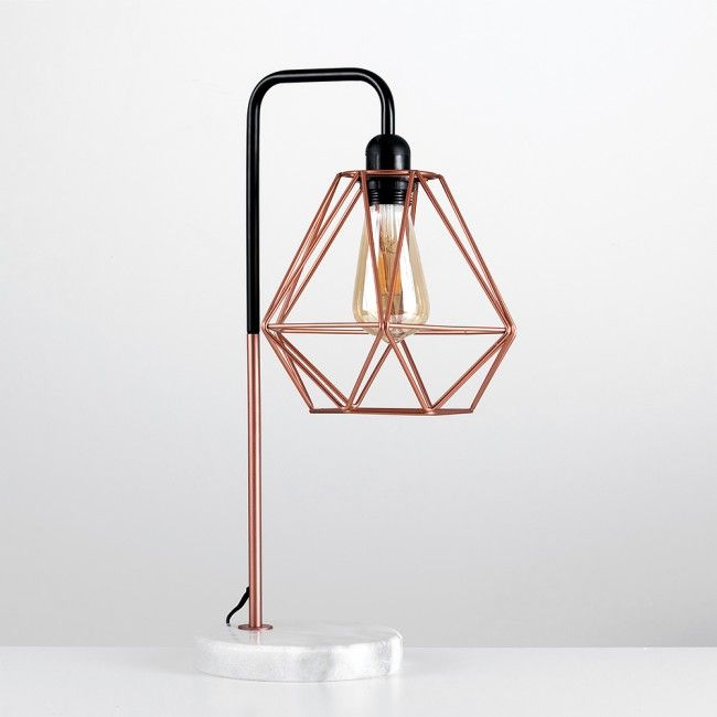 Industrial Style U0027Talismanu0027 Copper Table Lamp With White Marble Base And  Copper Geometric Shade