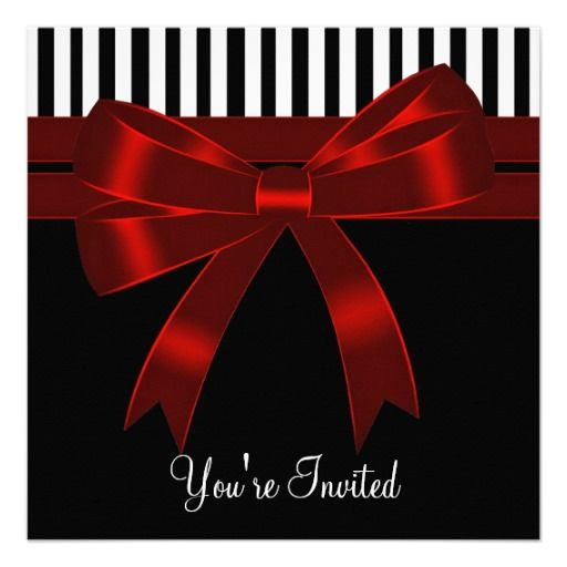 black white red all occasion party invitation black and white