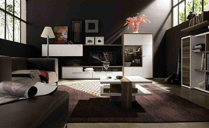 wände streichen ideen wohnzimmer wohnwand Tv möbel Pinterest