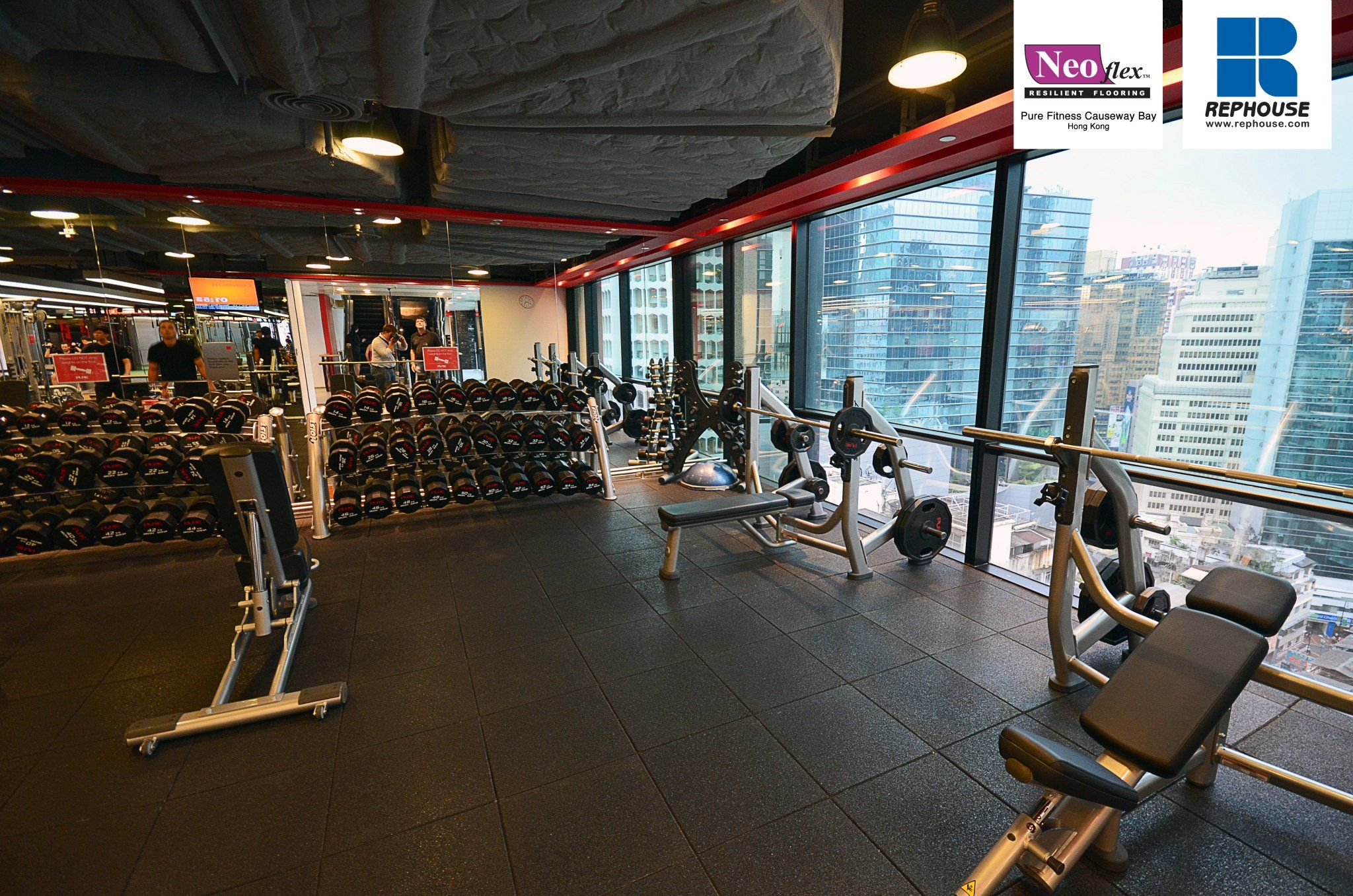 Neoflex Reco Series Rubber Fitness Flooring Pure Fitness Causeway Bay Hong Kong Floor Workouts Rubber Exercise Flooring Commercial Fitness