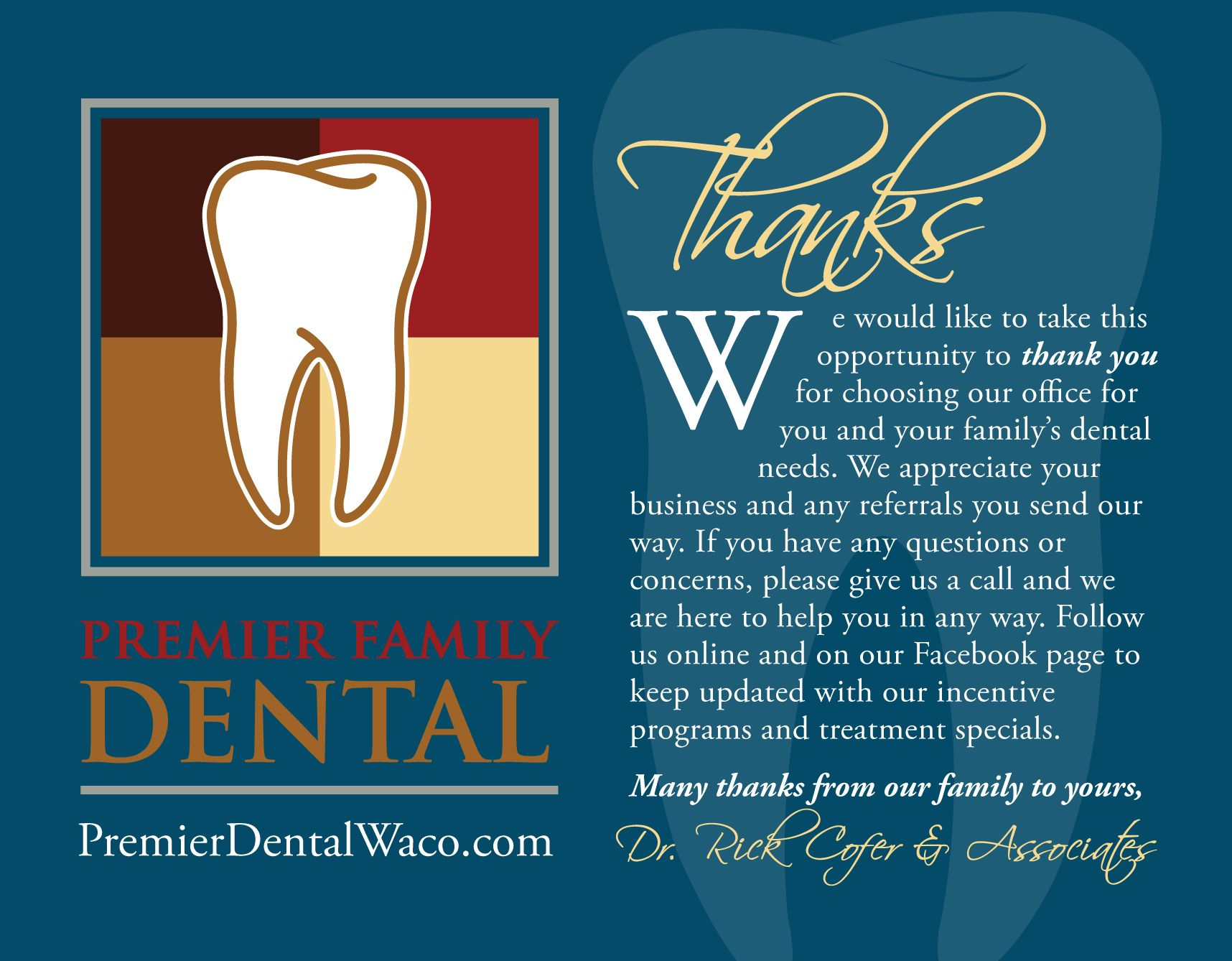 thank you cards designed for a dental practice