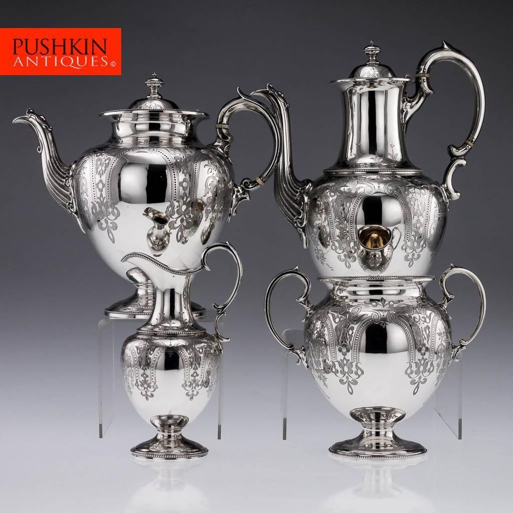 ANTIQUE 19thC VICTORIAN SOLID SILVER 4PS TEA & COFFEE SET, LONDON c.1873-79