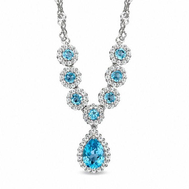Zales Pear-Shaped Swiss Blue Topaz and 1/10 CT. T.w. Diamond Pendant in Sterling Silver lbJa7