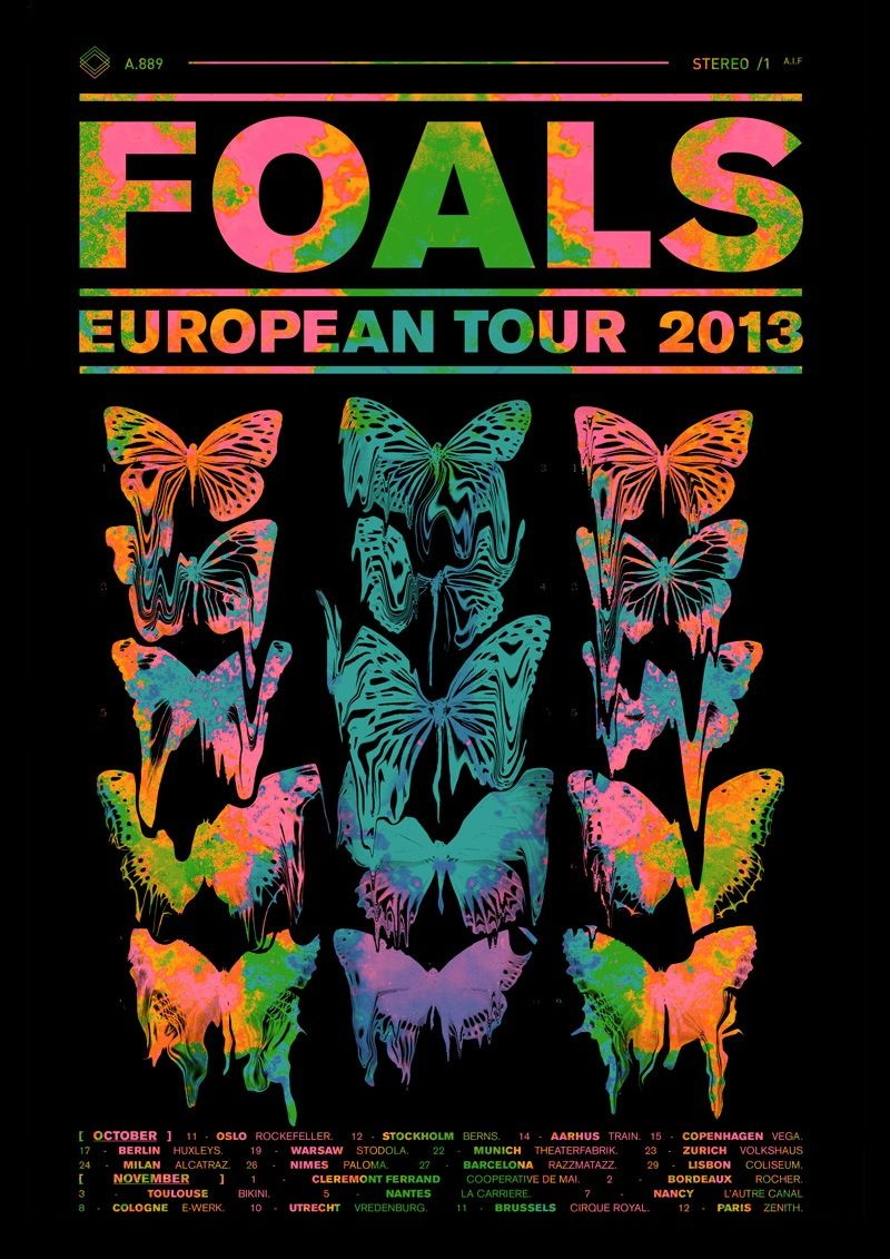 C Type Print On Matte Paper Foals Butterfly Tour Poster With Artwork By Leif Podhajsky Sizes A3 23 00 Concert Poster Design Tour Posters Poster Design