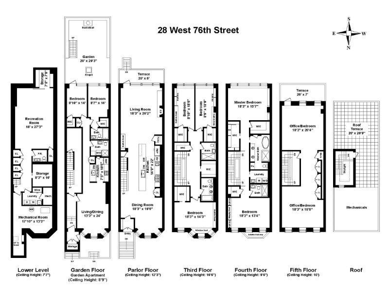 Upper West Side Townhouse Returns Seeking 12m More Than A Decade Ago Town House Floor Plan New York Townhouse Townhouse