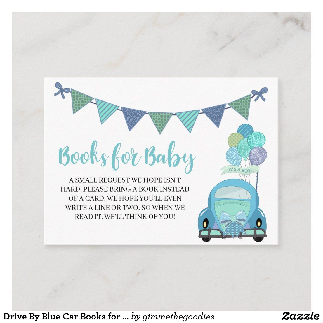 Drive By Blue Car Books for Baby Enclosure Card | Zazzle.com