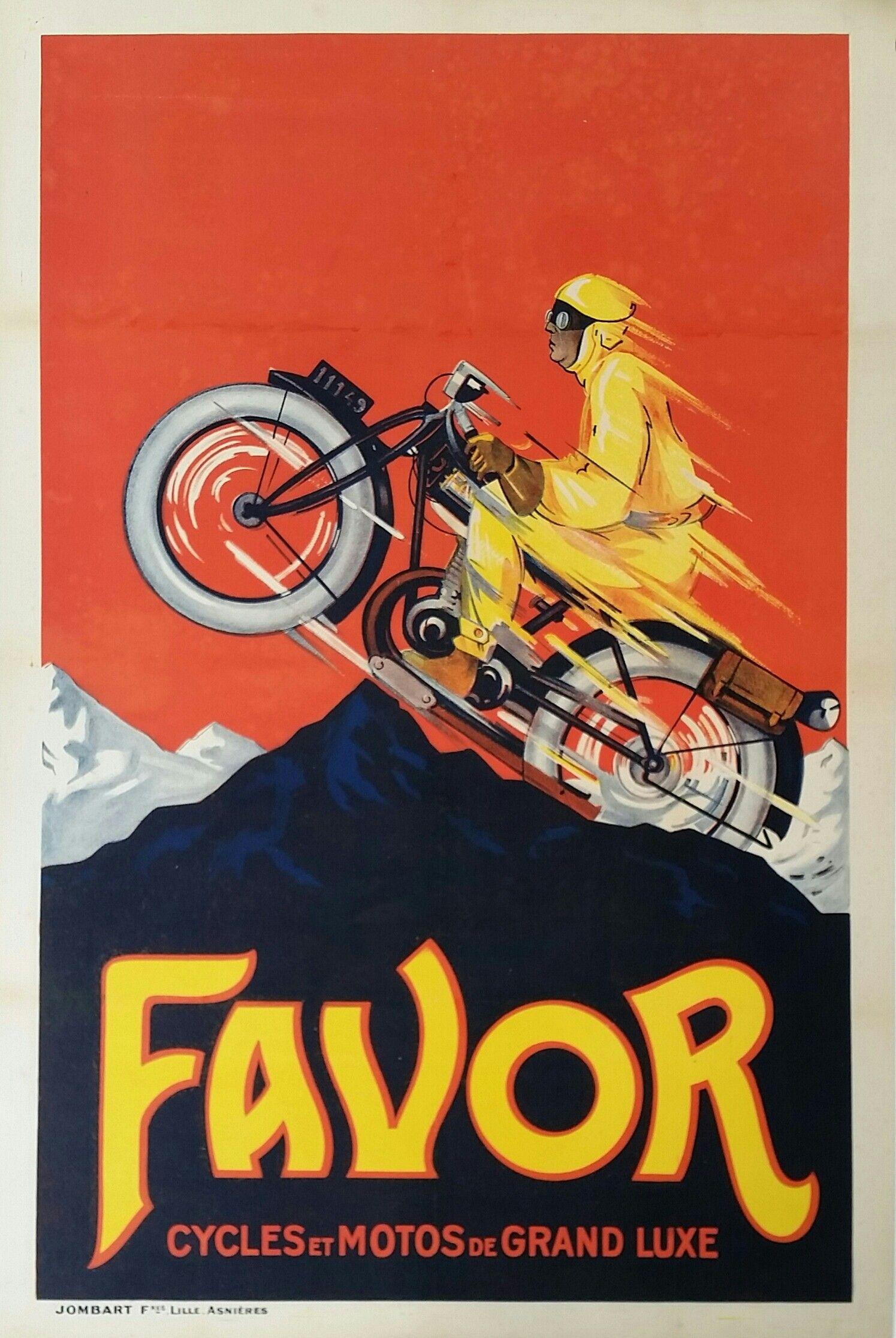 Original Vintage Motorcycle Poster Favor Cycles Et Motos De Grand Luxe Vintage Motorcycle Posters Motorcycle Posters Racing Posters