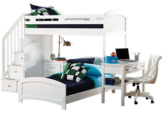 Shop for a Cottage Colors White Twin Twin Step Loft w Desk at Rooms To Go Kids. Find  that will look great in your home and complement the rest of your furniture.