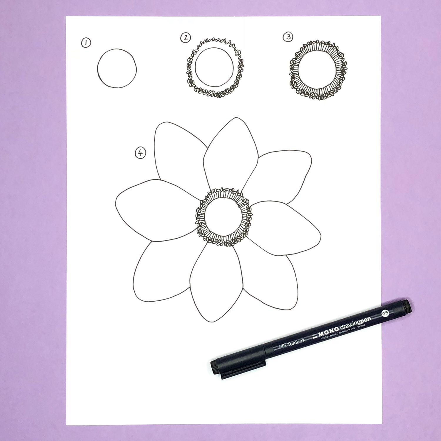 How To Draw An Anemone Flower Tombow Usa Blog Anemone Flower Flower Drawing Anemone
