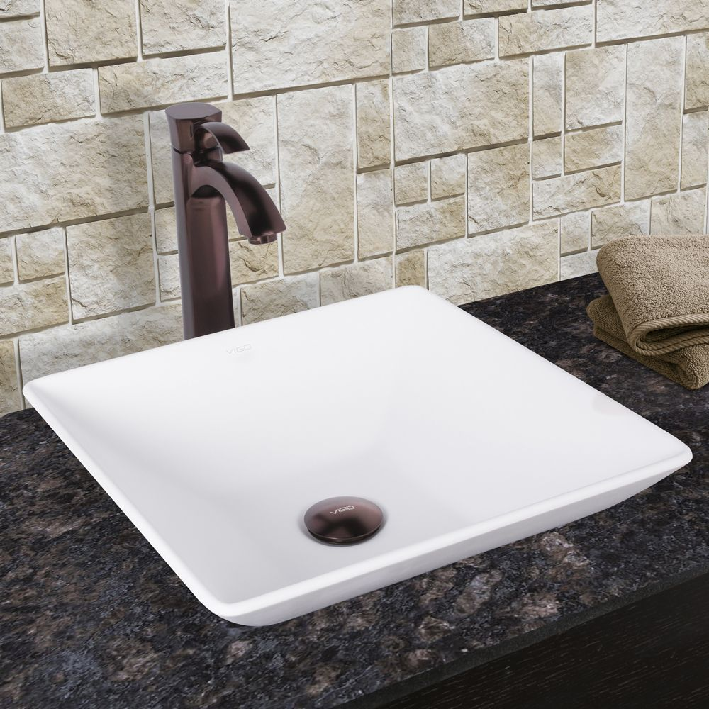Vigo Matira Composite Vessel Sink and Otis Bathroom Vessel Faucet in Oil Rubbed Bronze (Vessel SInk Set), White