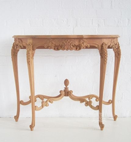 Half Round Side Table Carved
