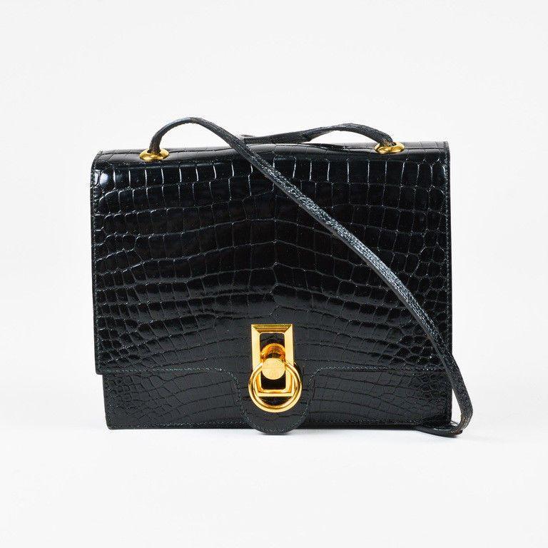 VINTAGE Hermes Black Genuine Crocodile Gold Tone Lock Front Flap ... 900e618006e66