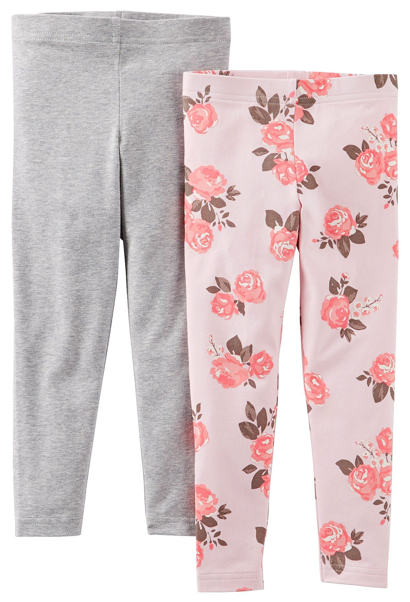 38b68944c42f7 Carter's Little Girls' 2 Pack Leggings (Toddler/Kid) - Pink/Gray - 5 ...