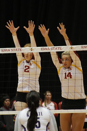 Iowa State Cyclones Triple Block With Blocking Hands And Arms Angled Towards The Middle Of The Opposi Volleyball Training Volleyball Skills Coaching Volleyball