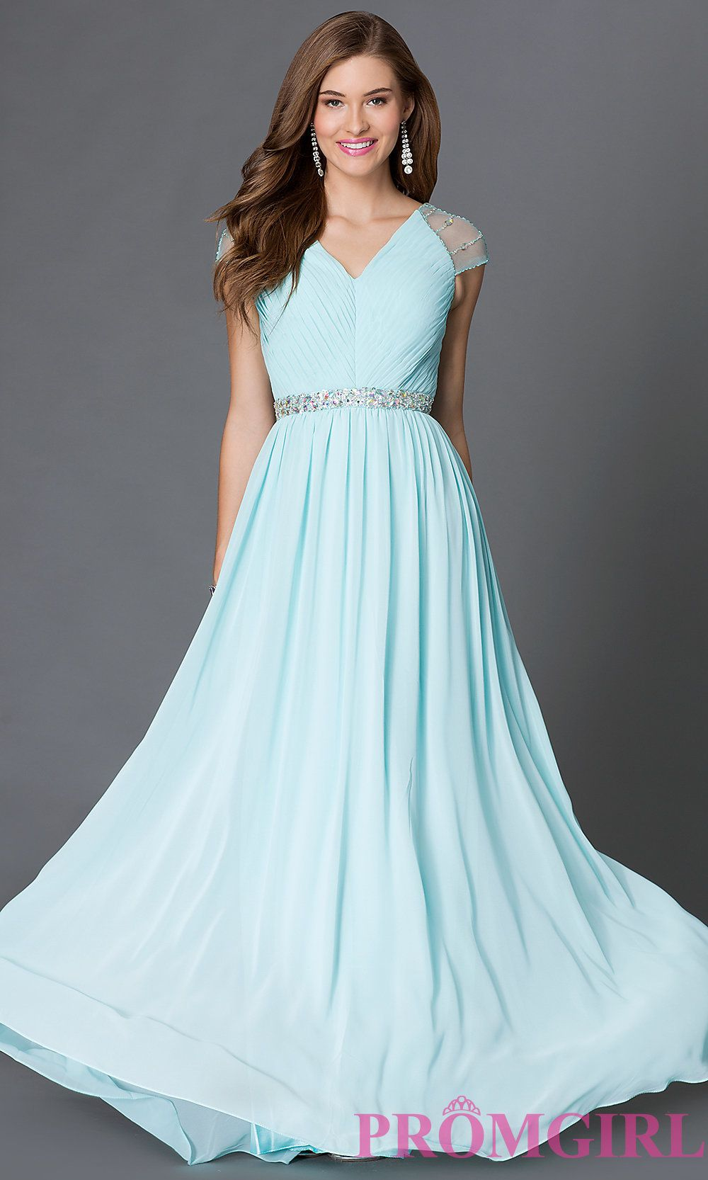 Image of floor length v-neck dress with sheer jewel embellished cap ...