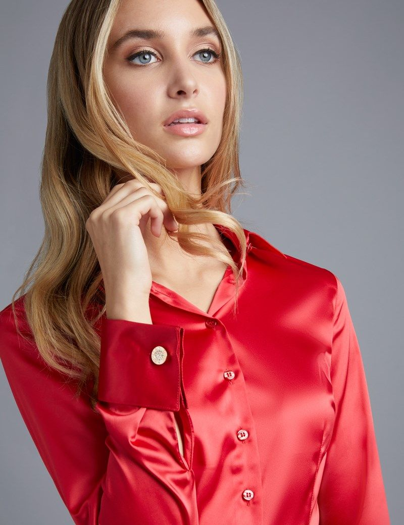 00e7010410 Women's Red Fitted Satin Shirt - Double Cuff | Bluzka in 2019 ...