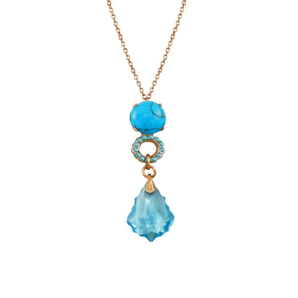 Tresor Chinese Blue Howlite and Aquamarine Swarovski Crystal Rose Gold Pendant Necklace