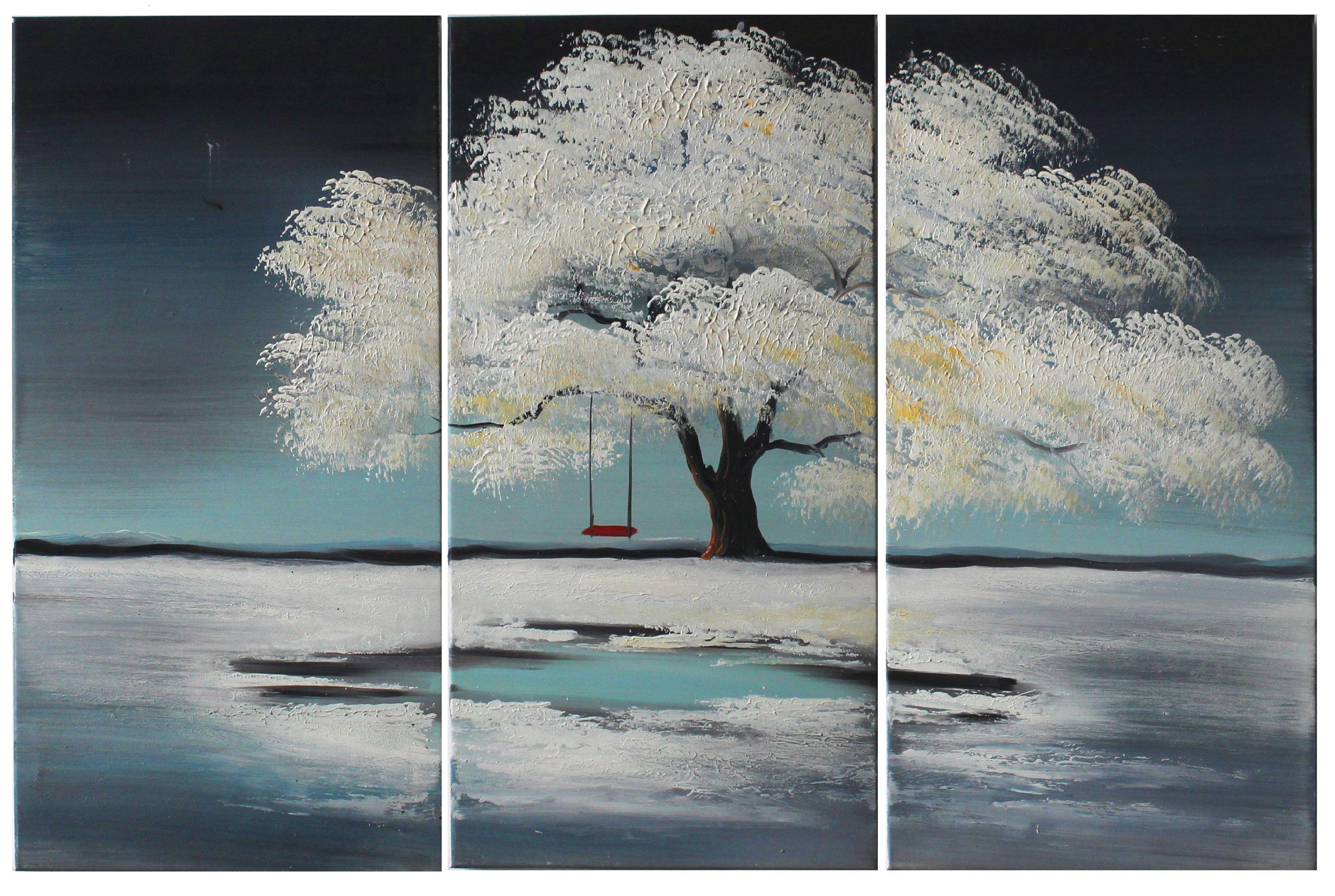 Handpainted oil painting winter snow landscape modern
