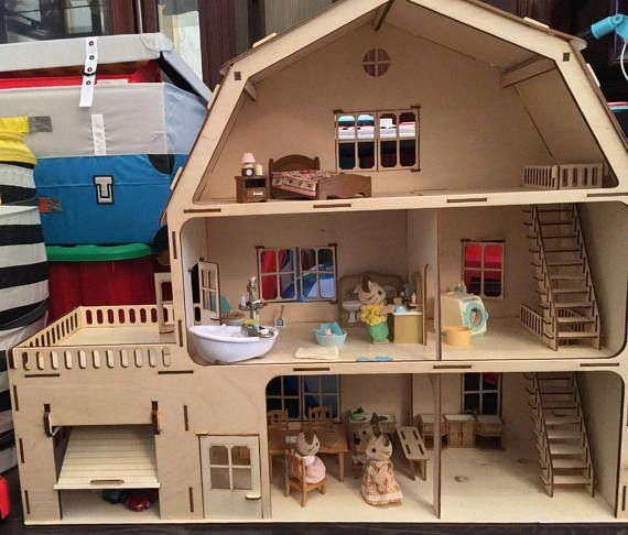 Dollhouse 3 floors with garage, laser cut doll house, wooden