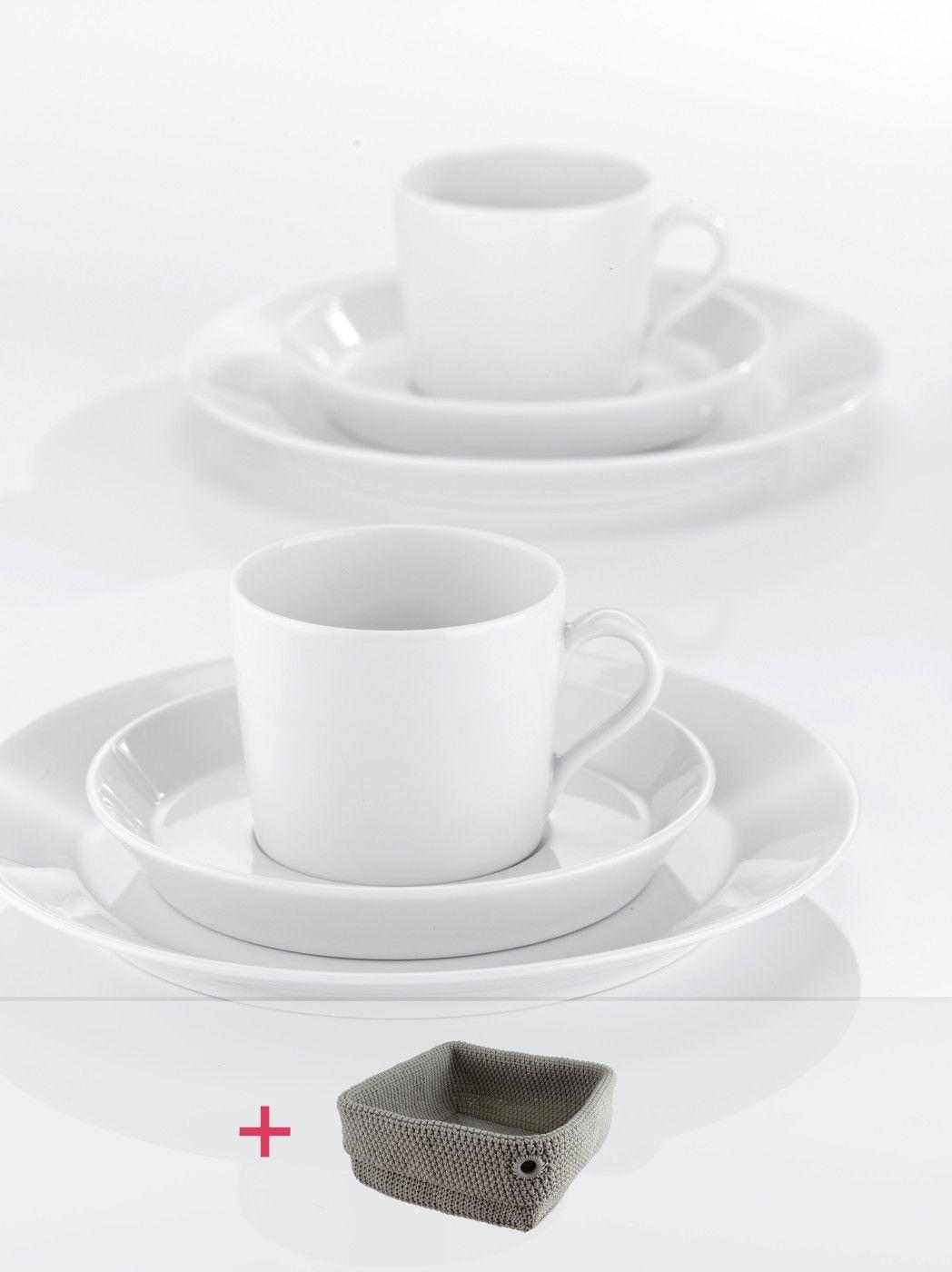 TRIC | WHITE Kaffee-Set 18-tlg. + gratis Brotkorb