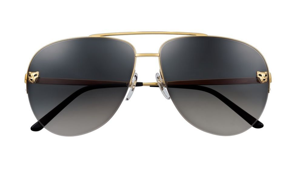 2761e446116 Auth Cartier Panthere De Cartier Gold Aviator Sunglasses 140  Cartier   Aviator