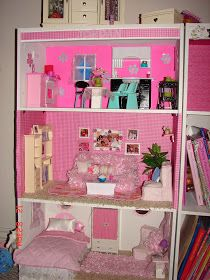A girl and a glue gun: DIY Barbie House from a shelf; I wanna make this, but I have a boy