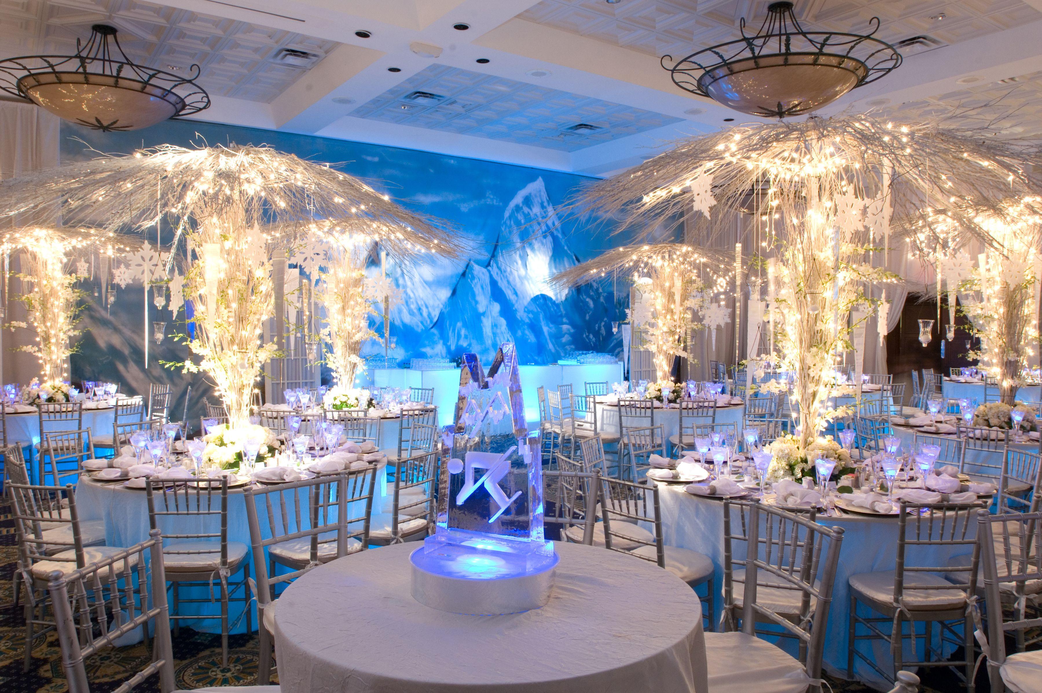 Backdrop Behind White Light Up Bar. Light Up Ice