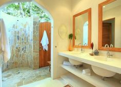 Suits Bath, Beaches House, Outdoor Shower, Home Bath, Santa Teresa, Indoor Outdoor Bath, Costa Rica, Luxury Beaches, Indooroutdoor Bath
