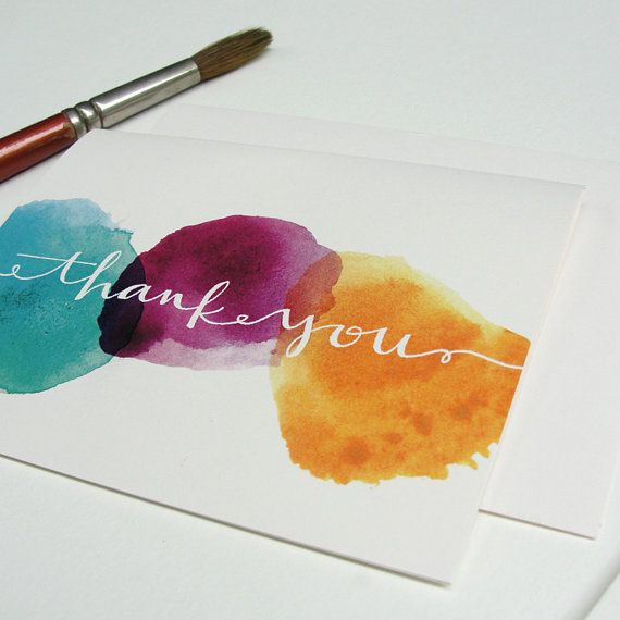 Thank You Notes Greeting Card Set With Watercolor Dots And Hand