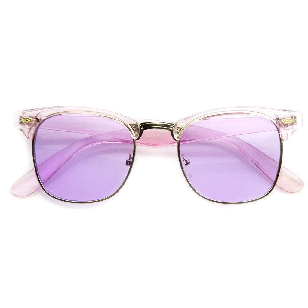 9a4937833da1e Eclectic Cute Pastel Pearl Color Half Frame Sunglasses 9430