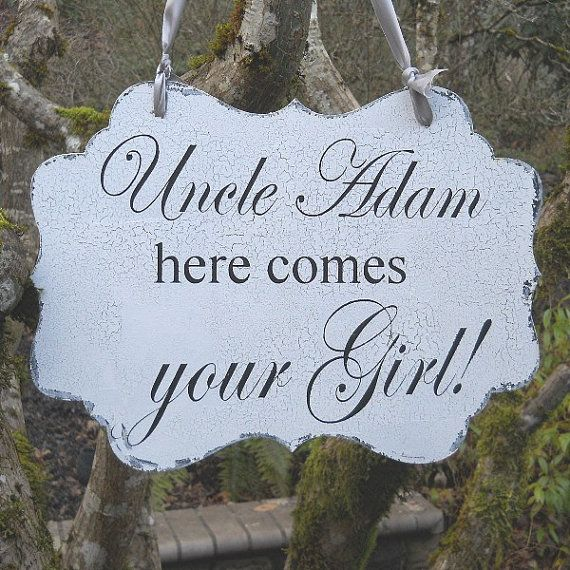"""One of the boys WILL be carrying this! """"Uncle Turtis"""" all the way! REVERSIBLE WEDDING SIGN Uncle Here Comes Your Girl by PucoBesh, $42.00"""