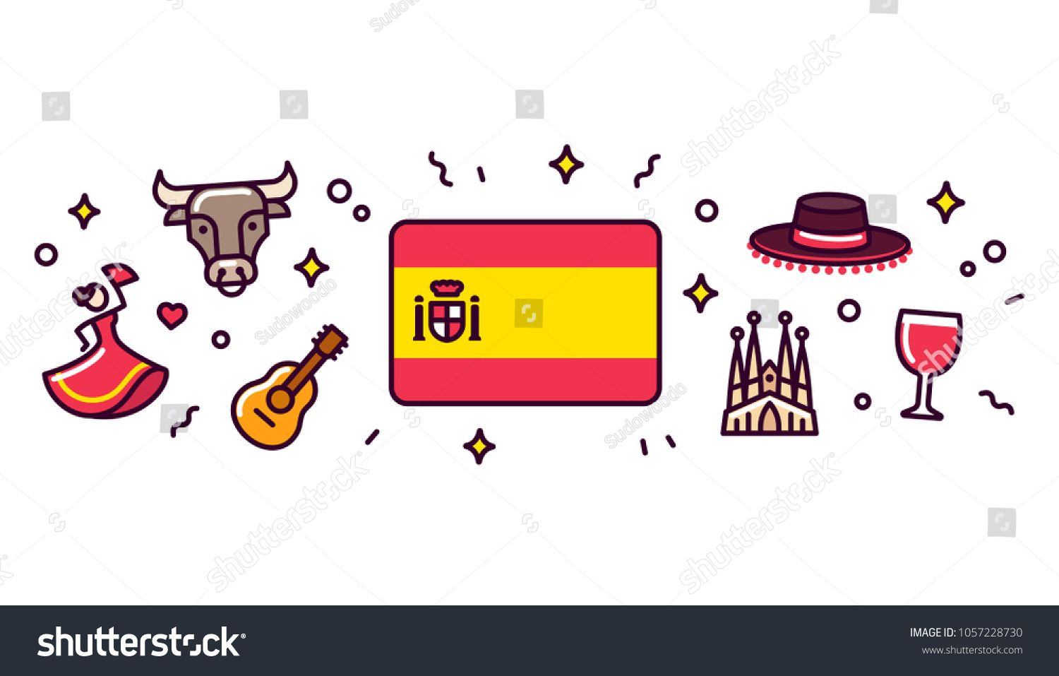 Spain Banner Design Elements Spanish Flag Surrounded With Traditional Signs And Symbols Vector Clip Art Illust Writing Courses Learning Spanish Spanish Slang